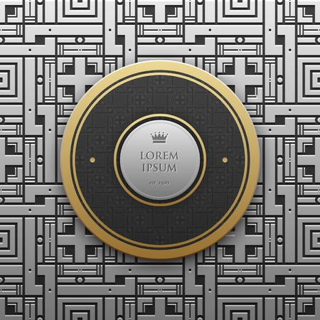 artdeco: Round text banner template on silverplatinum metallic background with seamless geometric pattern. Elegant luxury style.
