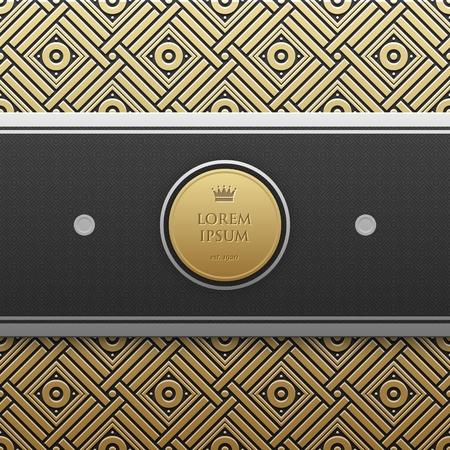 artdeco: Horizontal banner template on golden metallic background with seamless geometric pattern. Elegant luxury style. Illustration