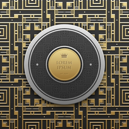 artdeco: Round text banner template on golden metallic background with seamless geometric pattern. Elegant luxury style.