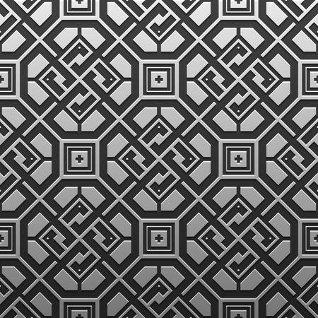 artdeco: Silverplatinum metallic background with geometric pattern. Elegant luxury style. Illustration