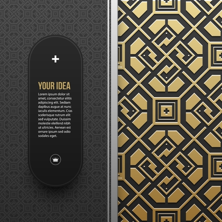 artdeco: Web banner template on golden metallic background with seamless geometric pattern. Elegant luxury style.