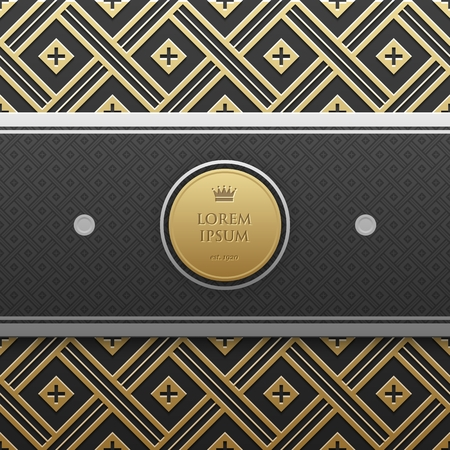 artdeco: Horizontal banner template on golden metallic background with seamless geometric pattern. Elegant luxury style. Illustration