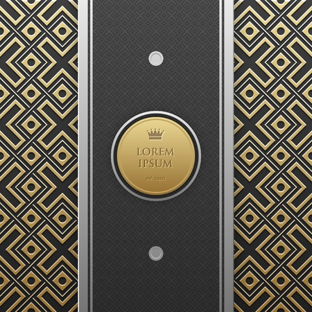 luxe: Vertical banner template on golden metallic  with seamless geometric pattern. Elegant luxury style.