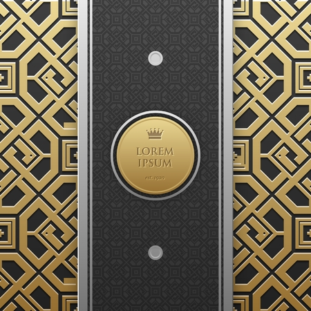 artdeco: Vertical banner template with seamless geometric pattern Illustration