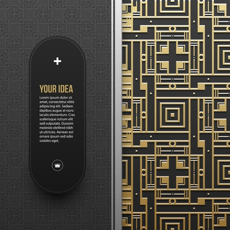 artdeco: Web banner template with seamless geometric pattern.