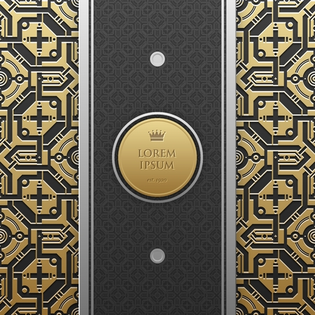 Vertical banner template with seamless geometric pattern.