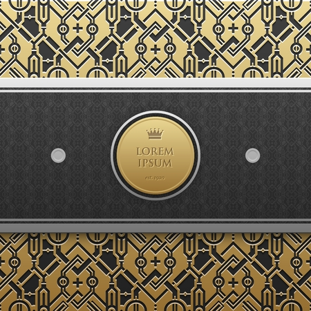 artdeco: Horizontal banner template with seamless geometric pattern.