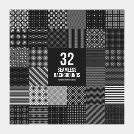 Huge set of 32 simple geometric patterns. Useful for textile design and wrapping.
