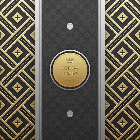 artdeco: Vertical banner template with seamless geometric pattern.