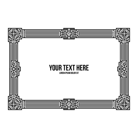 Art deco horizontal frame with native american elements on white background. Monochrome colors. Useful for invitations, postcards and covers.