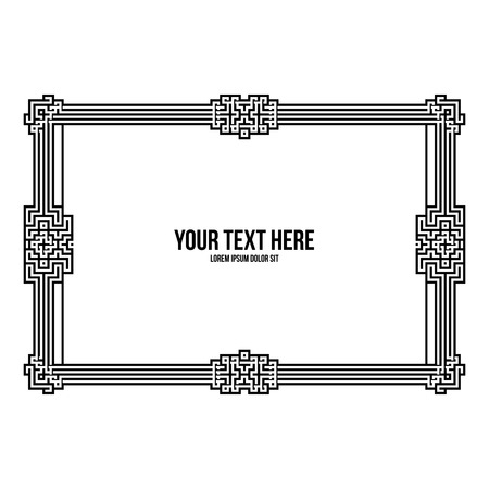 artdeco: Art deco horizontal frame with native american elements on white background. Monochrome colors. Useful for invitations, postcards and covers.