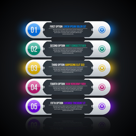 Five glowing horizontal options in hi-tech style on black background. Illustration