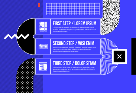 Three optionsbanners in fancy geometric style on bright blue background Illustration