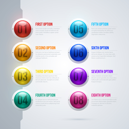 Menu with eight colorful spheres in elegant techno style on white background