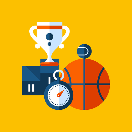 Colorful illustration about sport and physical education in modern flat style. College subject icon on yellow background. Pedestal with cup, basketball, stopwatch.