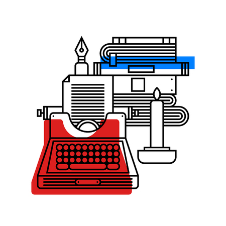 Colorful illustration about literature in modern outline style. College subject icon on white background.