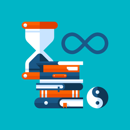 Colorful illustration about philosophy in modern flat style. College subject icon on cyan background. Hourglass, books, philosophical symbols.