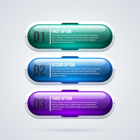 Three glossy options in hi-tech style on white background Illustration