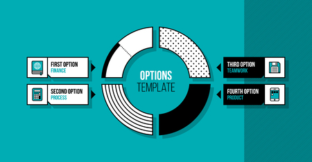 Pie chart infographics template with four segments in fancy geometric style on bright turquoise background Illustration