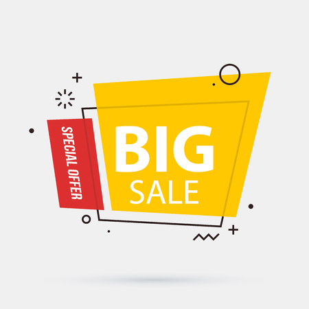 Big sale banner template in memphis geometric style on white background