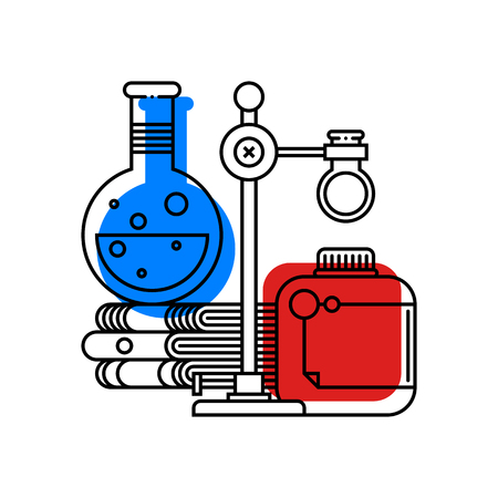 Colorful illustration about chemistry in modern outline style. College subject icon on white background.
