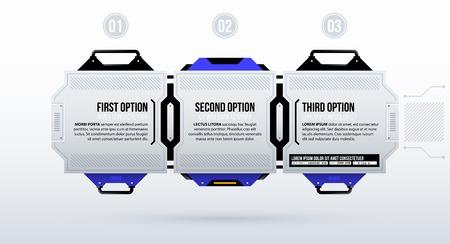 Three futuristic options in clean hi-tech/techno style on white background