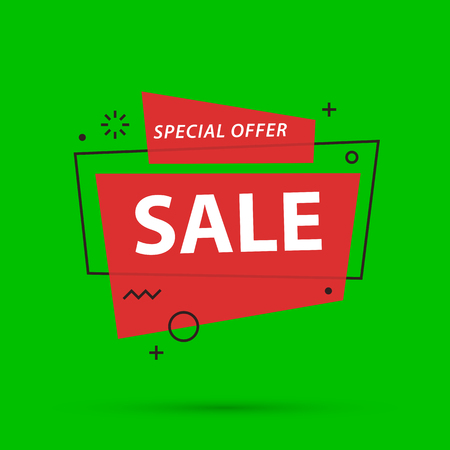 Sale banner template in colorful memphis style on bright green background Illustration