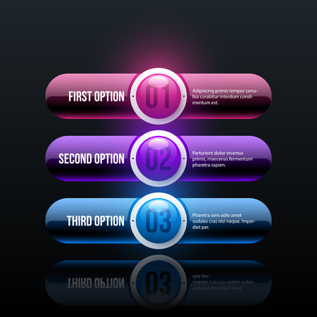 Three options in glossy business style on black background Ilustrace
