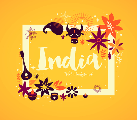 India background/banner template with abstract, floral and national elements. Useful for traveling advertising and web design. Ilustração