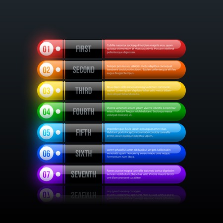 Seven rainbow options in clean hi-tech style on black glossy background Ilustrace