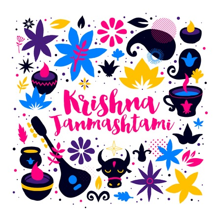 Krishna Janmashtami design template with abstract colorful elements on white background.