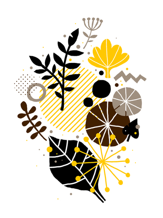 Abstract composition with hand drawn floral elements. Useful for advertising, design, prints and posters.