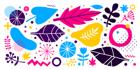 Colorful vector background with hand drawn floral elements. Useful for advertising, web design and printed media. Ilustrace