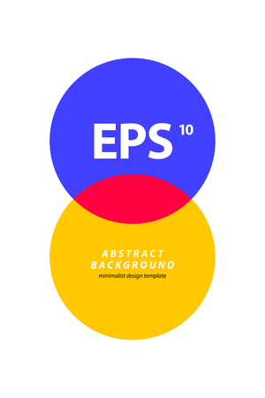 Poster design template with intersecting circles in colorful retro minimalism style. Abstract vector background