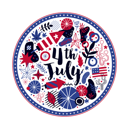 Abstract composition in a shape of a circle with patriotic elements. Useful for 4 July Independence day invitations, advertising and posters.