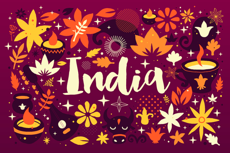 India backgroundbanner template with abstract, floral and national elements. Useful for traveling advertising and web design.