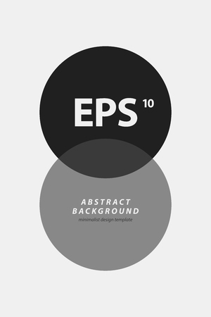 Poster design template with two intersecting circles in black and white style. Abstract vector background Illustration