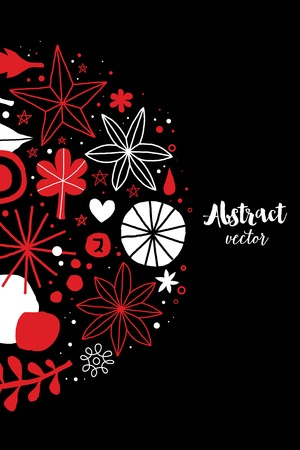 Creative template with flowers and abstract hand drawn elements. Useful for advertising, graphic design, invitations, cards and posters. Ilustrace