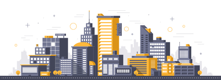 City illustration. Towers and buildings in modern flat style on white background Ilustração Vetorial