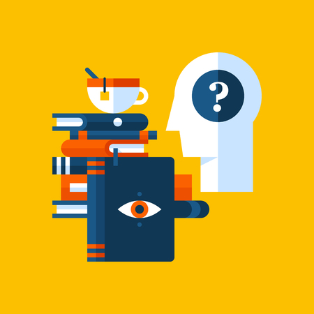 Colorful illustration about psychology in modern flat style. College subject icon on yellow background. Human head with question mark, books, a cup of tea. Illustration