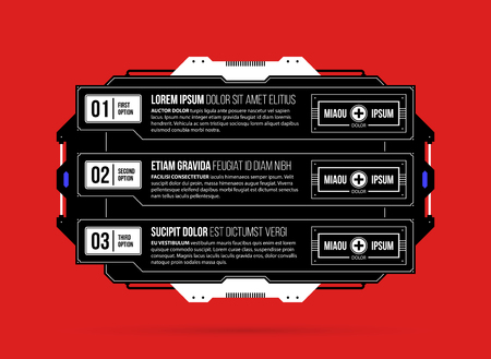 Three options template with hi-tech elements in black and red techno style on flat vibrant background Stock Illustratie