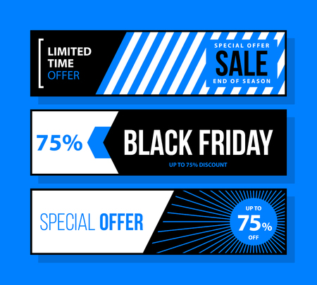 Three horizontal Black Friday banners in black and blue style on bright background