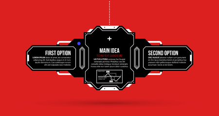 Text background with two options and hi-tech elements in black and red techno style on flat vibrant background