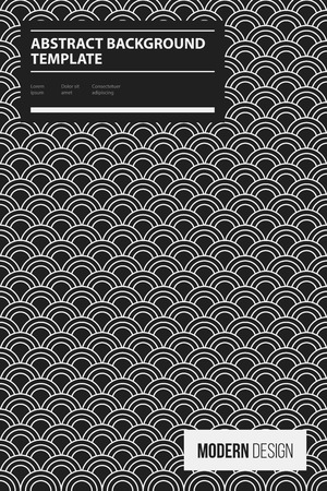 Poster design template with traditional oriental pattern in black and white style. Abstract vector background