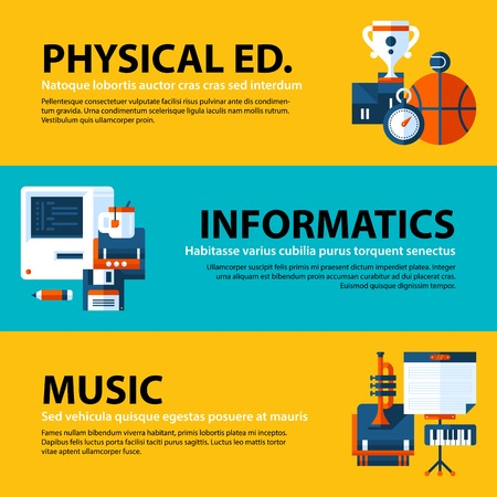 Set of three web banners about education and college subjects in flat illustration style on colorful background. Physical education, computer science and music.