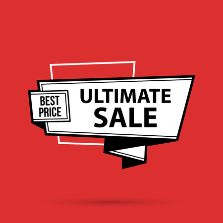 Ultimate sale banner template in black and white style on bright red background