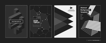 Set of four abstract backgroundsposters in black and white style