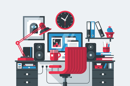 Illustration of creative office workspace interior in flat design style on gray background. Desktop computer, wooden table, chair, clock, books etc. Stock Illustratie