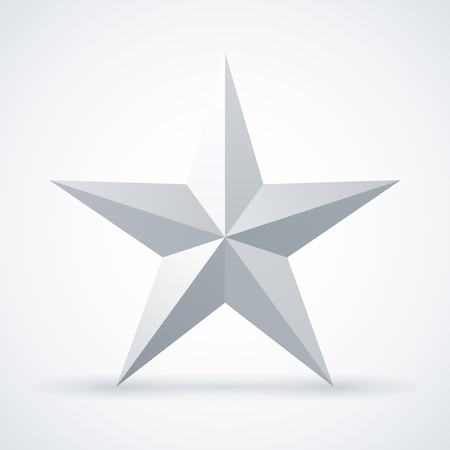 Metallic five-pointed star on white background.
