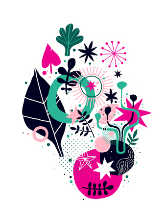 Abstract composition with floral hand drawn elements. Useful for prints, posters, invitations and advertising.